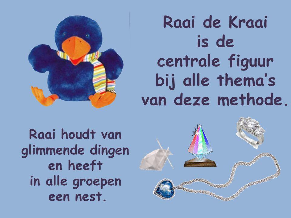 Raai de Kraai is de centrale figuur bij alle thema's van deze methode.