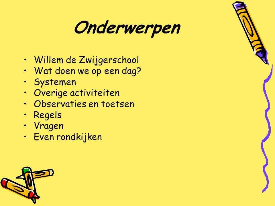 Onderwerpen Willem de Zwijgerschool Wat doen we op een dag Systemen