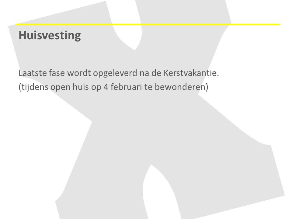 Huisvesting Laatste fase wordt opgeleverd na de Kerstvakantie.