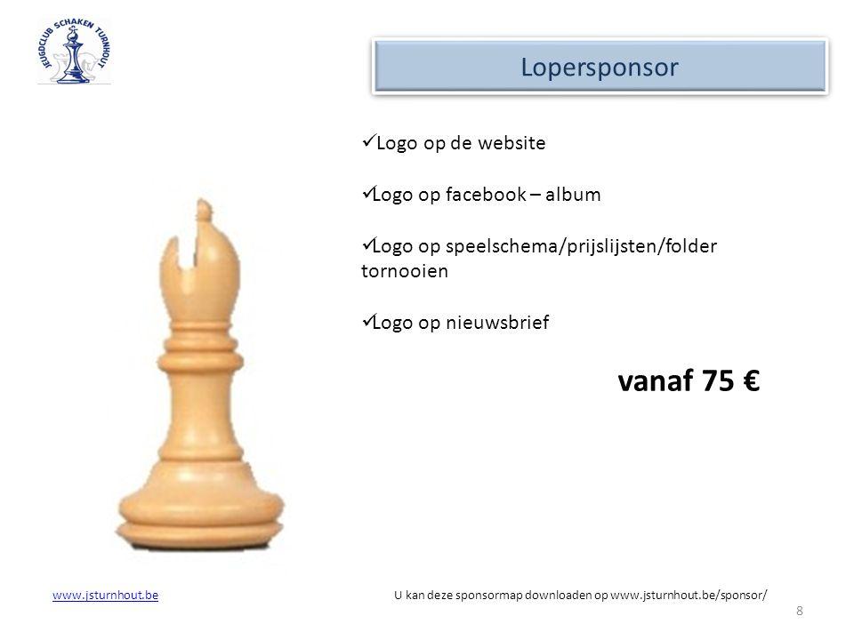 vanaf 75 € Lopersponsor Logo op de website Logo op facebook – album