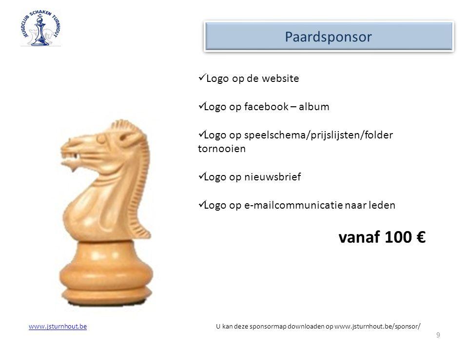 vanaf 100 € Paardsponsor Logo op de website Logo op facebook – album
