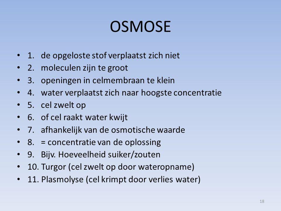 OSMOSE 1. de opgeloste stof verplaatst zich niet