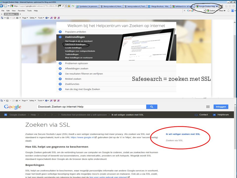 Safesearch = zoeken met SSL