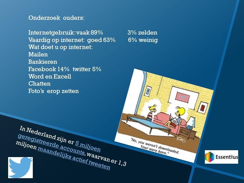 Onderzoek ouders: Internetgebruik: vaak 89% 3% zelden. Vaardig op internet: goed 63% 6% weinig.