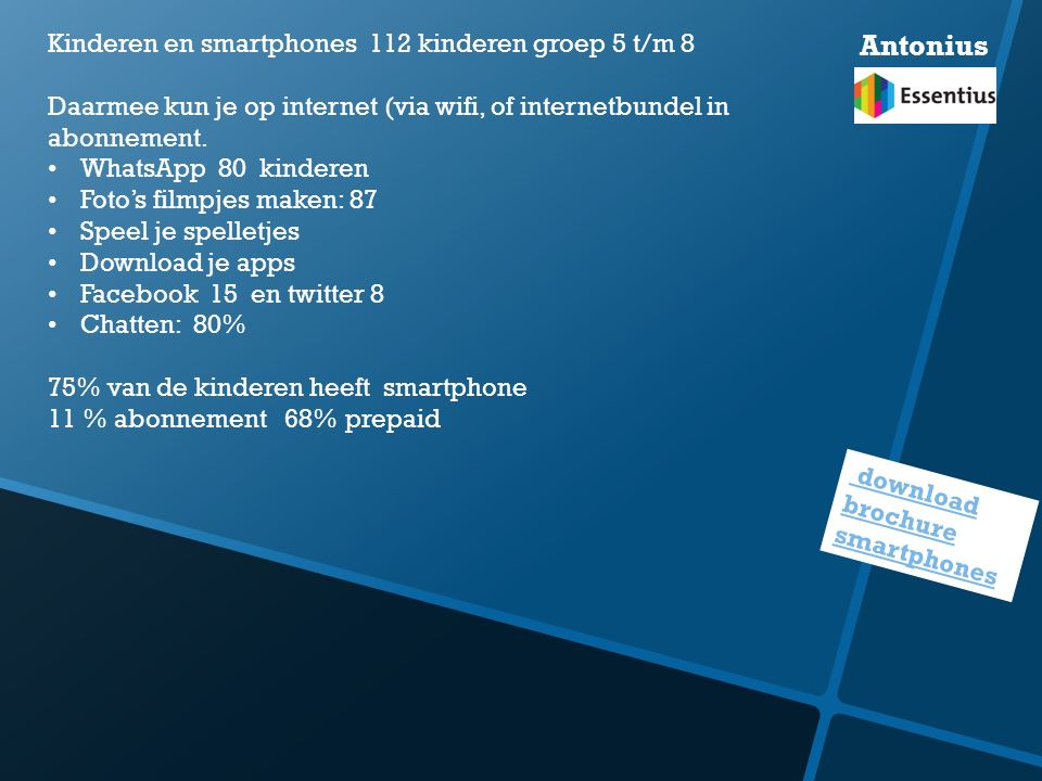 Antonius Kinderen en smartphones 112 kinderen groep 5 t/m 8