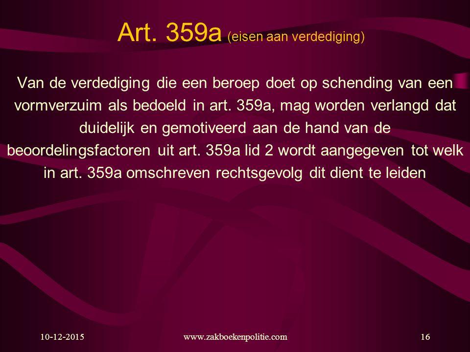 Art. 359a (eisen aan verdediging)