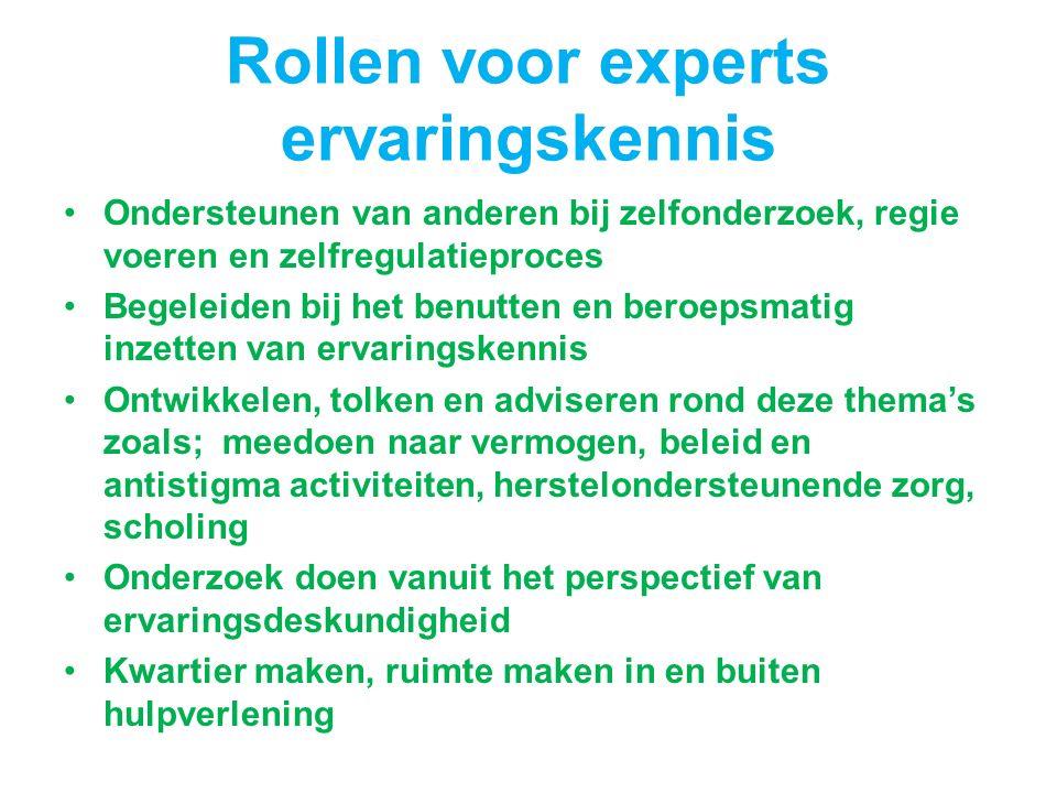 Rollen voor experts ervaringskennis