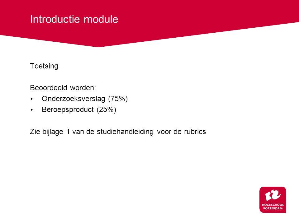 Introductie module Toetsing Beoordeeld worden: Onderzoeksverslag (75%)