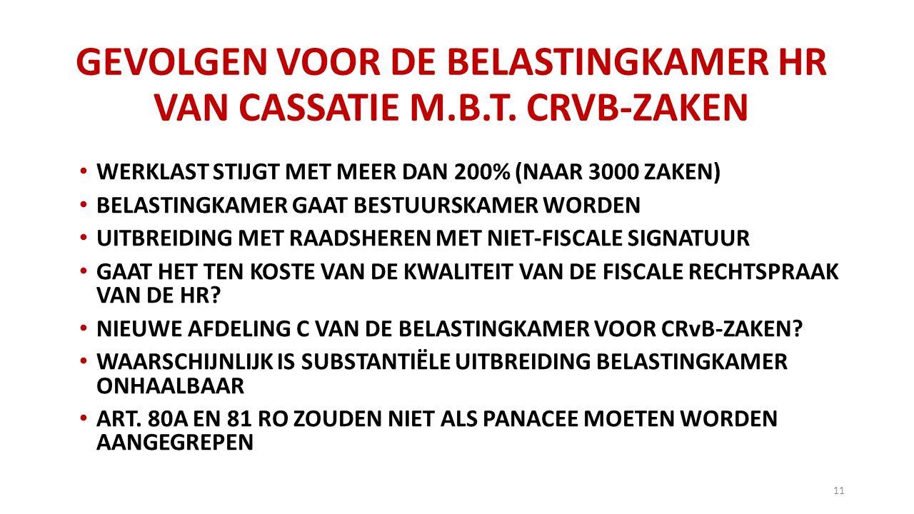 GEVOLGEN VOOR DE BELASTINGKAMER HR VAN CASSATIE M.B.T. CRVB-ZAKEN