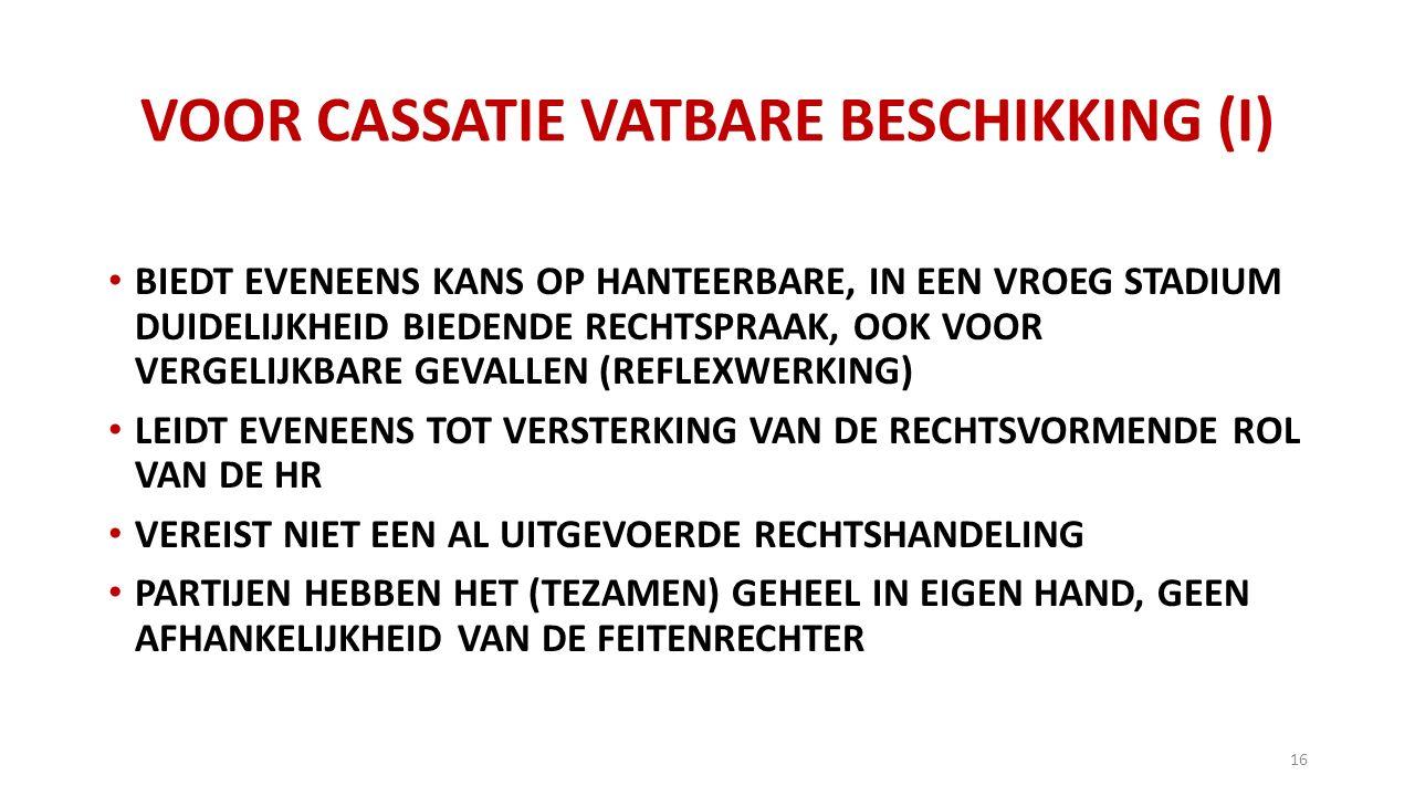 VOOR CASSATIE VATBARE BESCHIKKING (I)