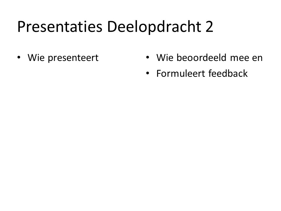 Presentaties Deelopdracht 2