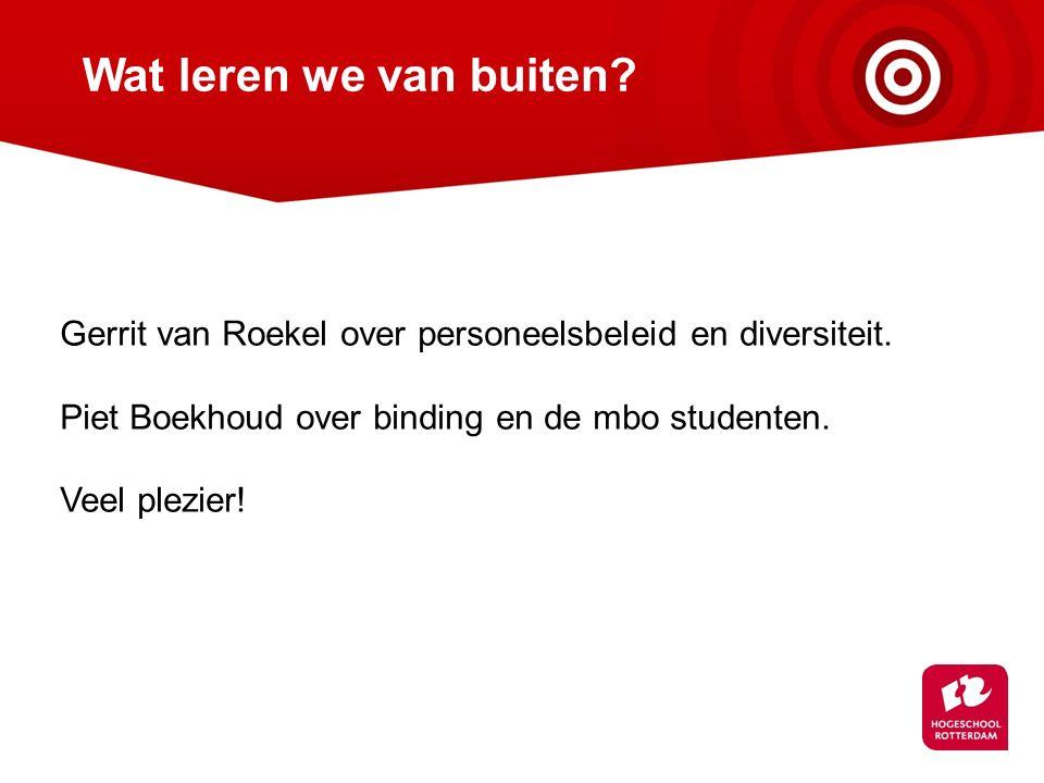 Wat leren we van buiten Gerrit van Roekel over personeelsbeleid en diversiteit. Piet Boekhoud over binding en de mbo studenten.