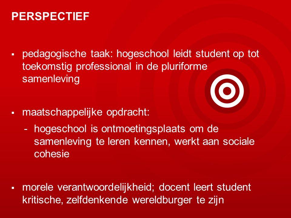 PERSPECTIEF pedagogische taak: hogeschool leidt student op tot toekomstig professional in de pluriforme samenleving.
