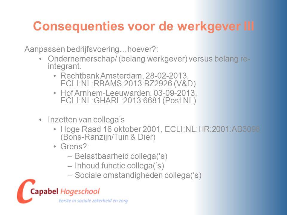 Consequenties voor de werkgever III