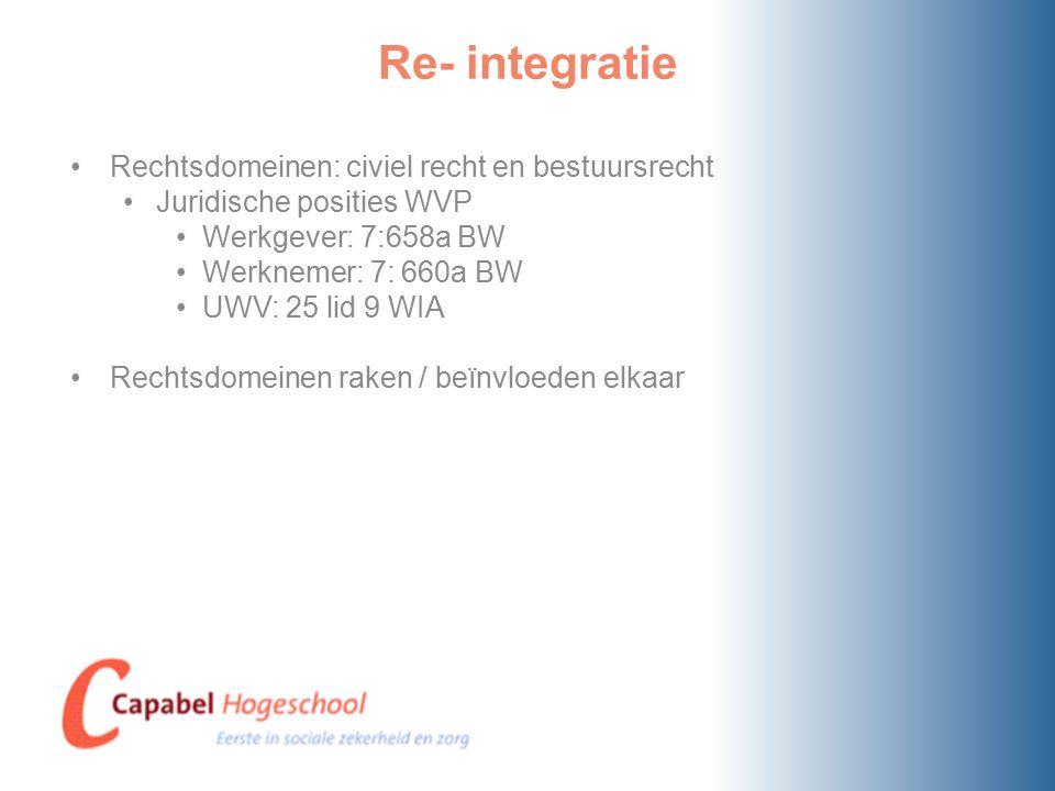 Re- integratie Rechtsdomeinen: civiel recht en bestuursrecht