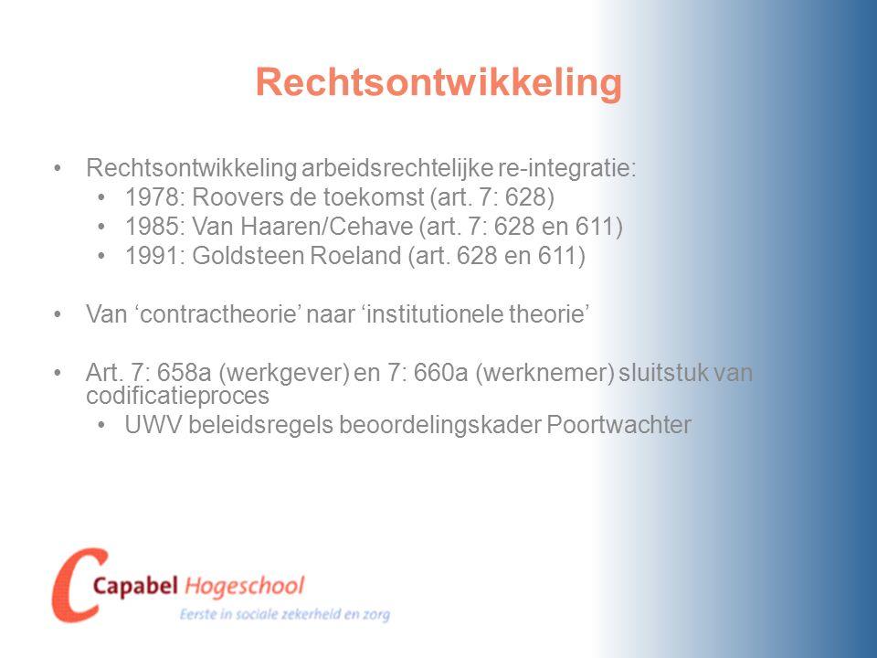 Rechtsontwikkeling Rechtsontwikkeling arbeidsrechtelijke re-integratie: 1978: Roovers de toekomst (art. 7: 628)