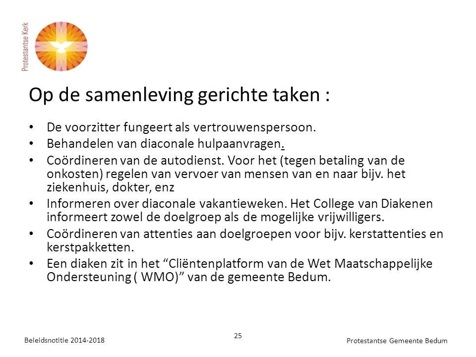 Op de samenleving gerichte taken :
