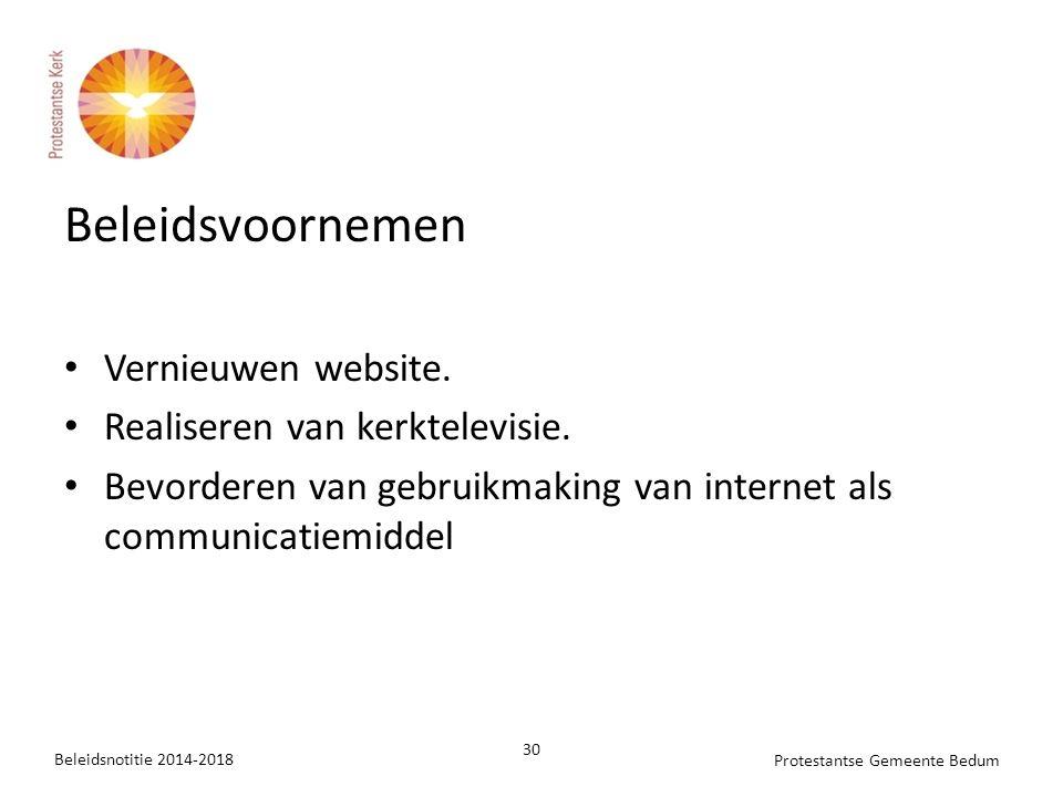 Beleidsvoornemen Vernieuwen website. Realiseren van kerktelevisie.