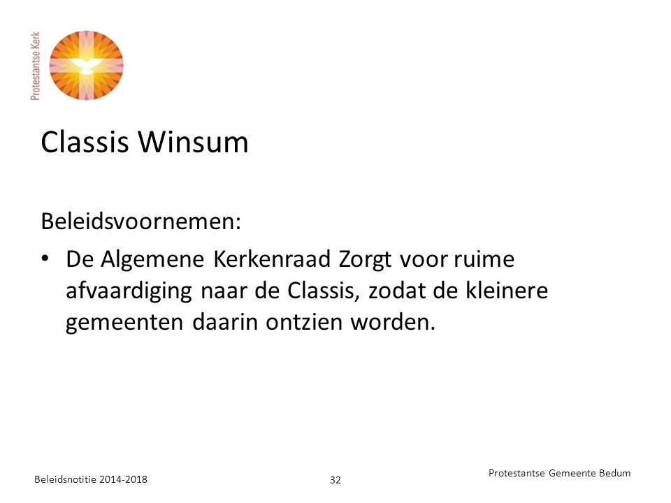Classis Winsum Beleidsvoornemen: