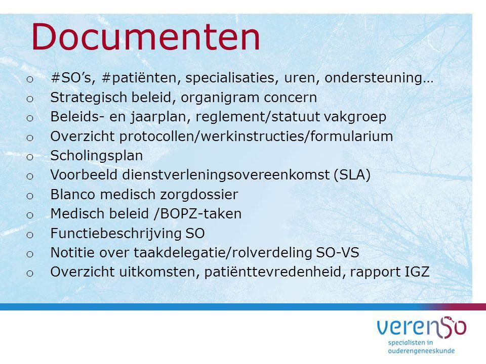 Documenten #SO's, #patiënten, specialisaties, uren, ondersteuning…