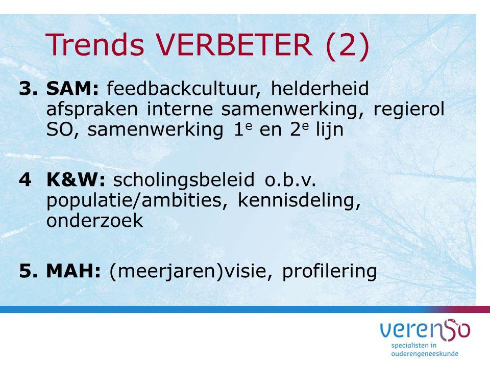 Trends VERBETER (2) SAM: feedbackcultuur, helderheid afspraken interne samenwerking, regierol SO, samenwerking 1e en 2e lijn.