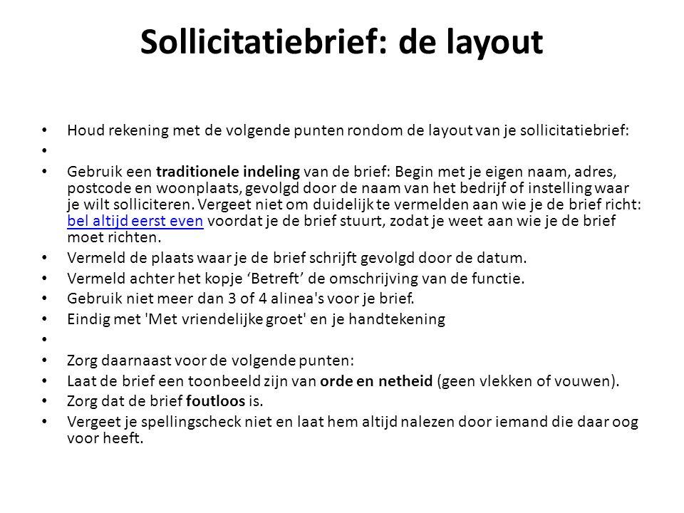 Sollicitatiebrief: de layout