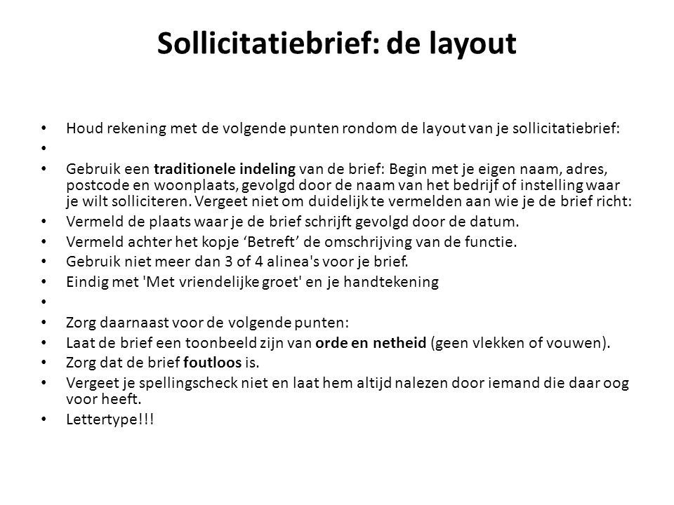 Sollicitatiebrief: de layout