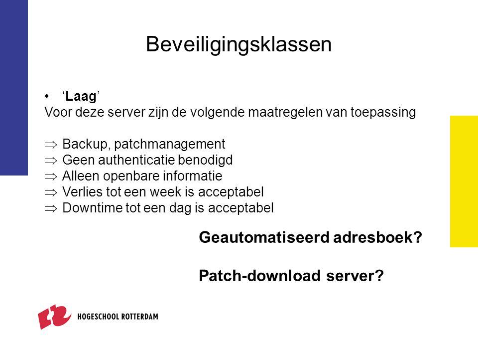 Beveiligingsklassen Geautomatiseerd adresboek Patch-download server