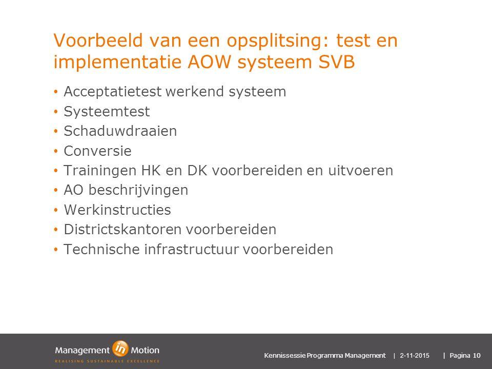 Voorbeeld van een opsplitsing: test en implementatie AOW systeem SVB
