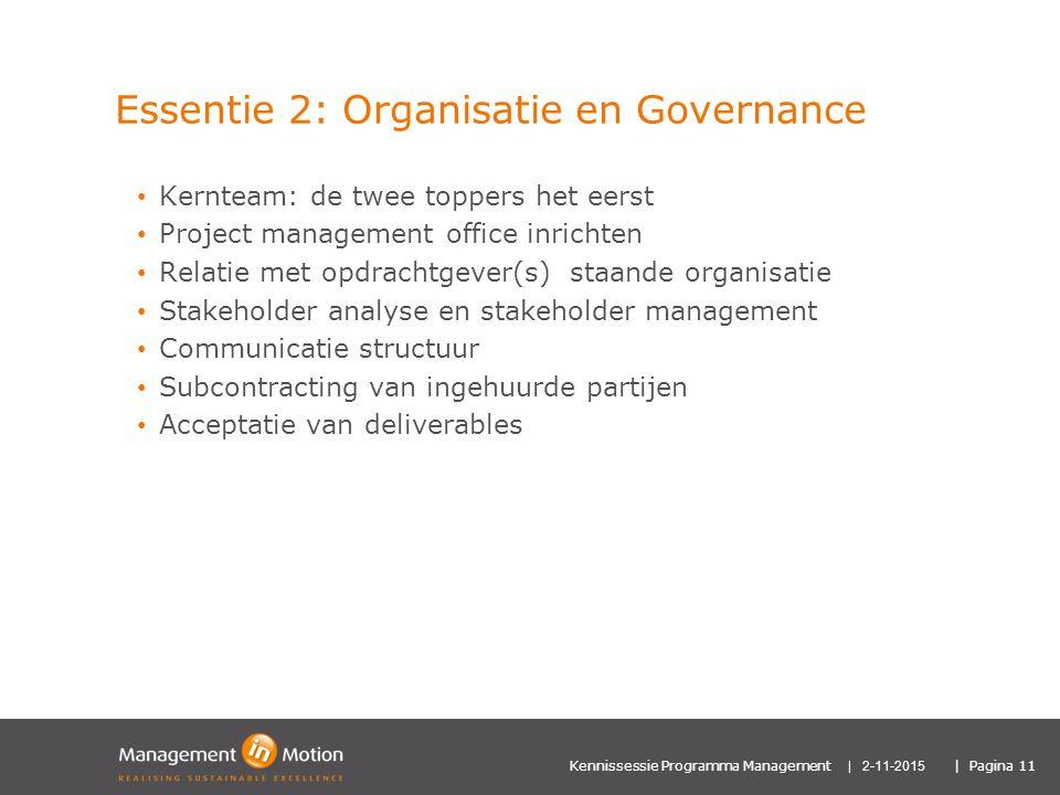 Essentie 2: Organisatie en Governance
