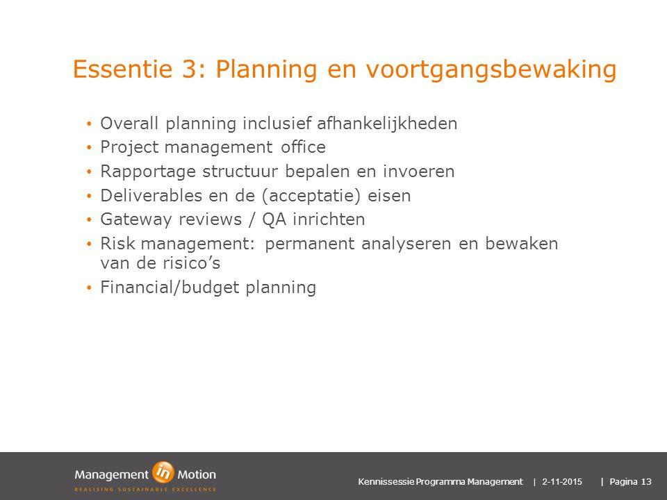 Essentie 3: Planning en voortgangsbewaking