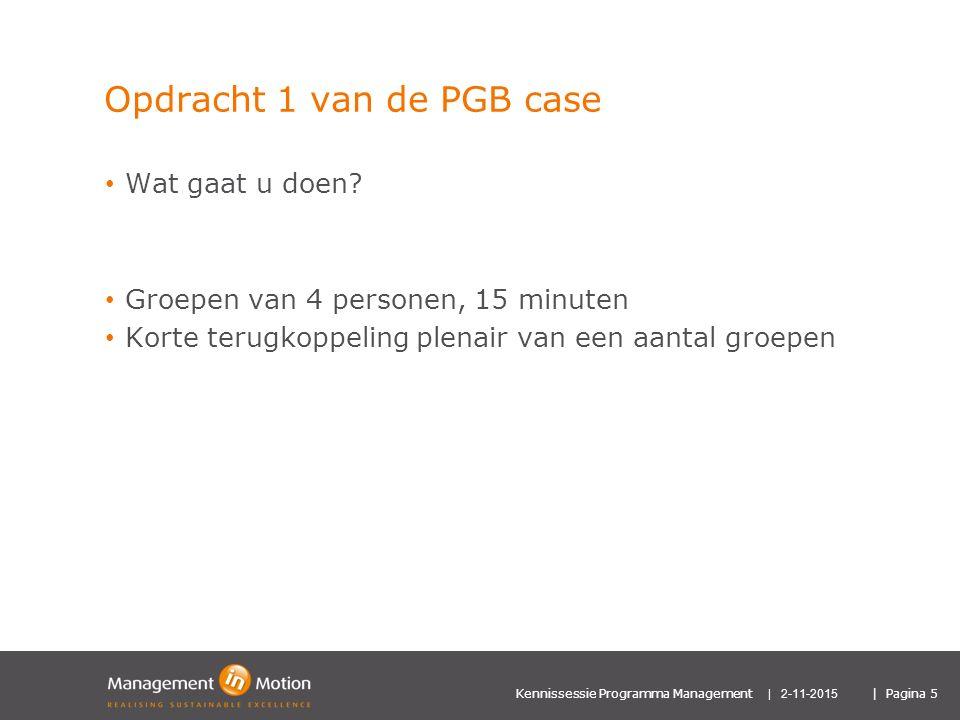Opdracht 1 van de PGB case