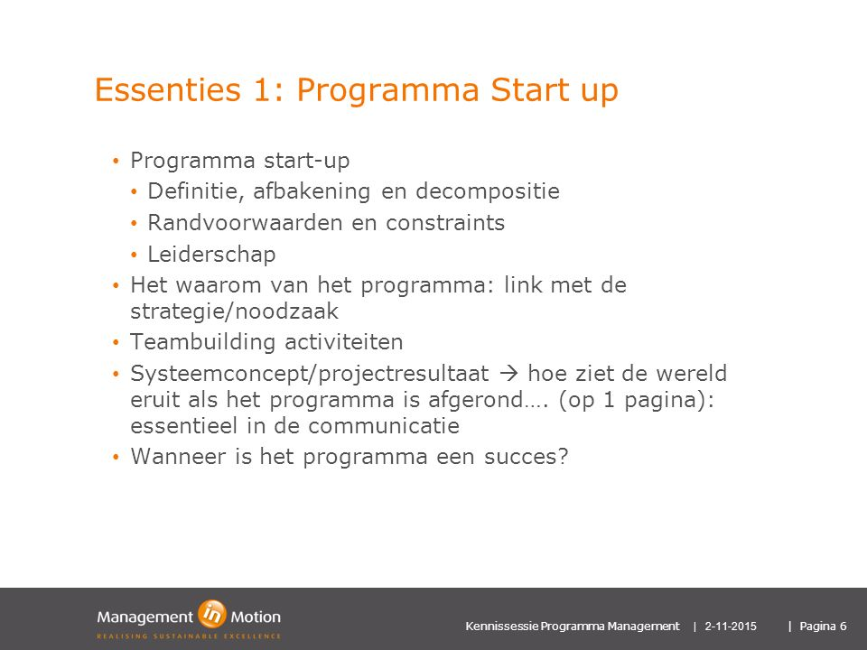 Essenties 1: Programma Start up