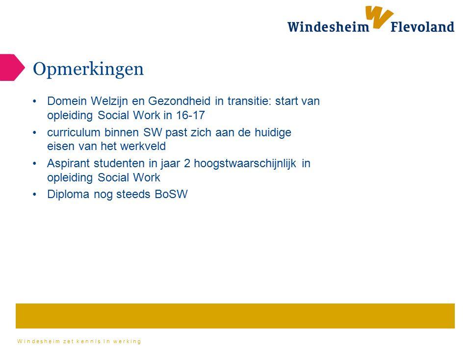 Opmerkingen Domein Welzijn en Gezondheid in transitie: start van opleiding Social Work in 16-17.