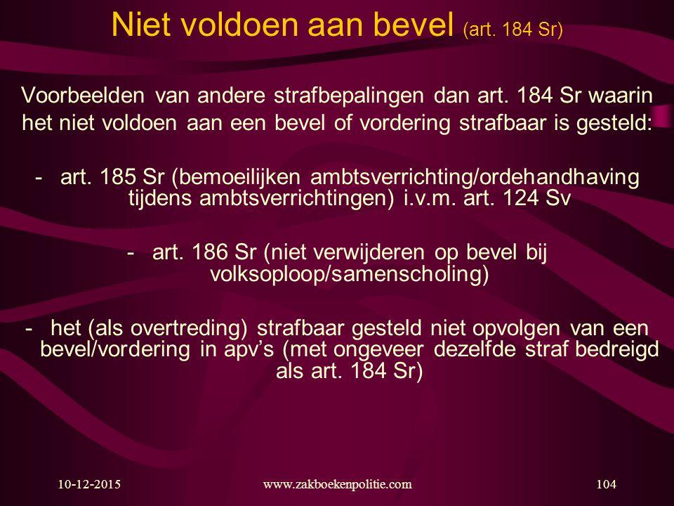 Niet voldoen aan bevel (art. 184 Sr)