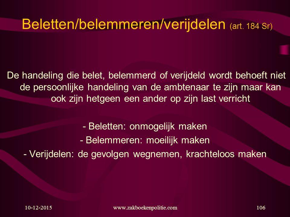 Beletten/belemmeren/verijdelen (art. 184 Sr)