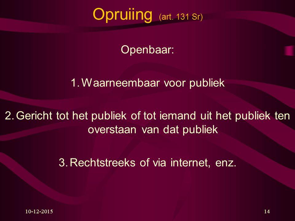 Opruiing (art. 131 Sr) Openbaar: Waarneembaar voor publiek