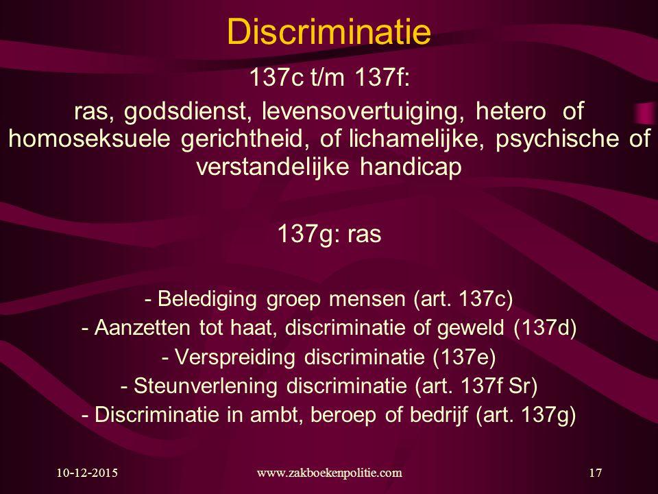 Discriminatie 137c t/m 137f:
