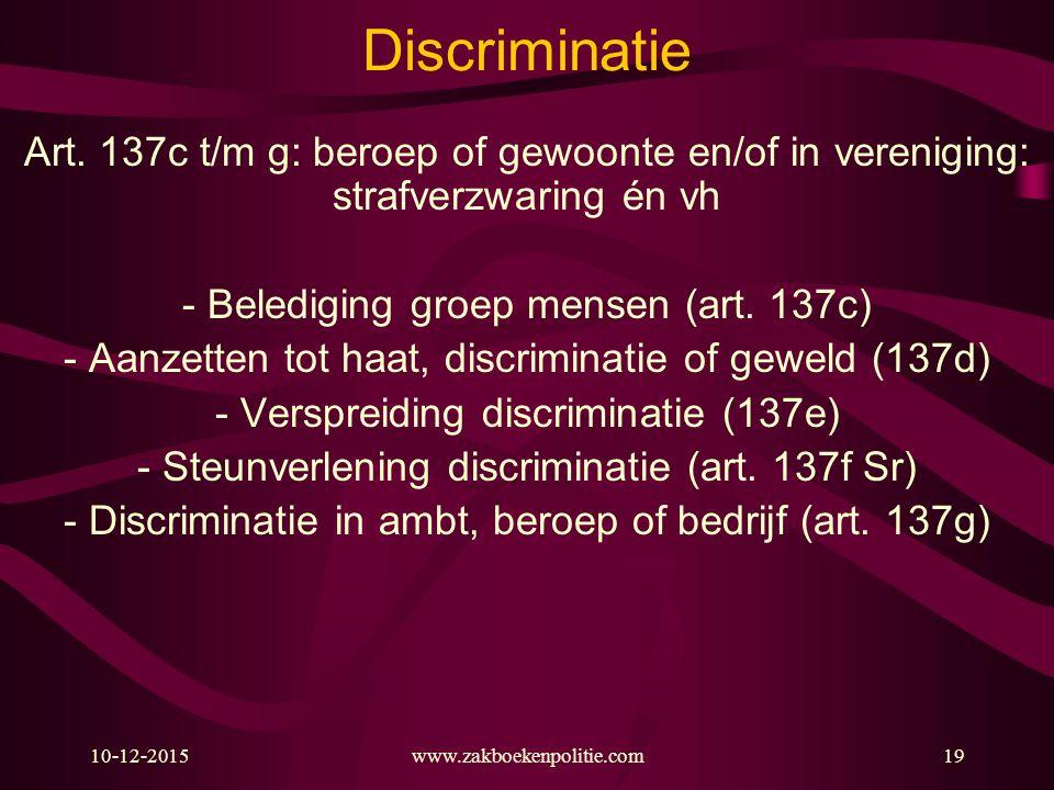 Discriminatie Art. 137c t/m g: beroep of gewoonte en/of in vereniging: strafverzwaring én vh. - Belediging groep mensen (art. 137c)