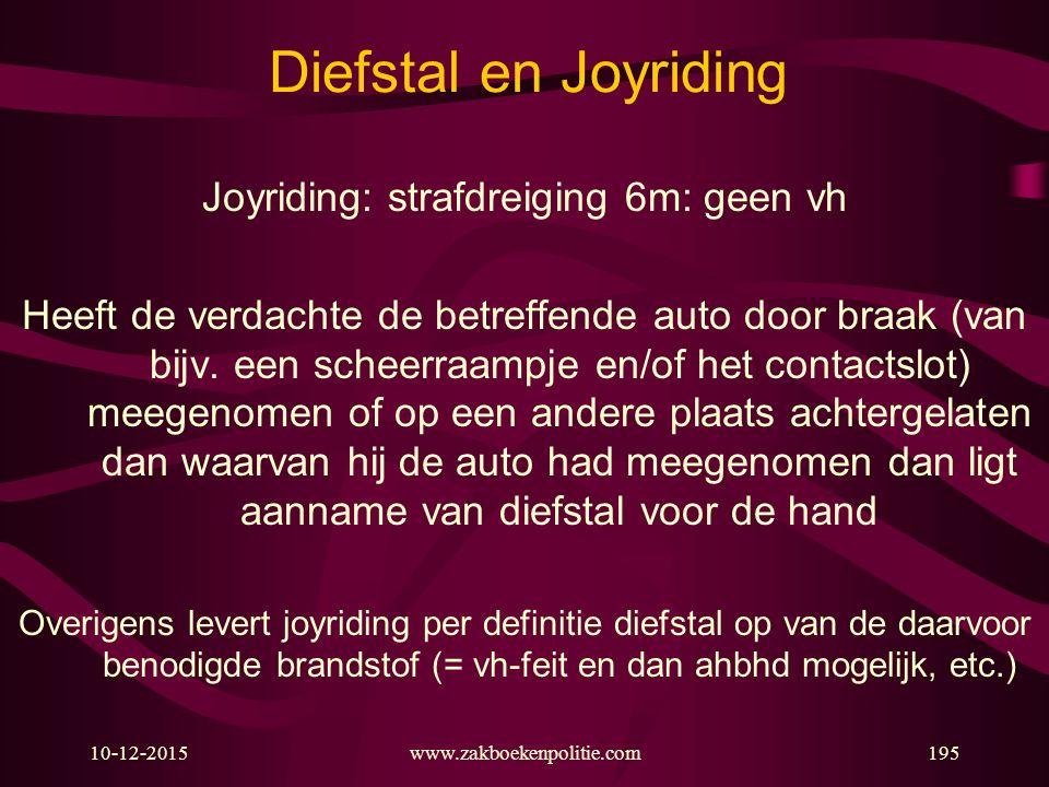Joyriding: strafdreiging 6m: geen vh