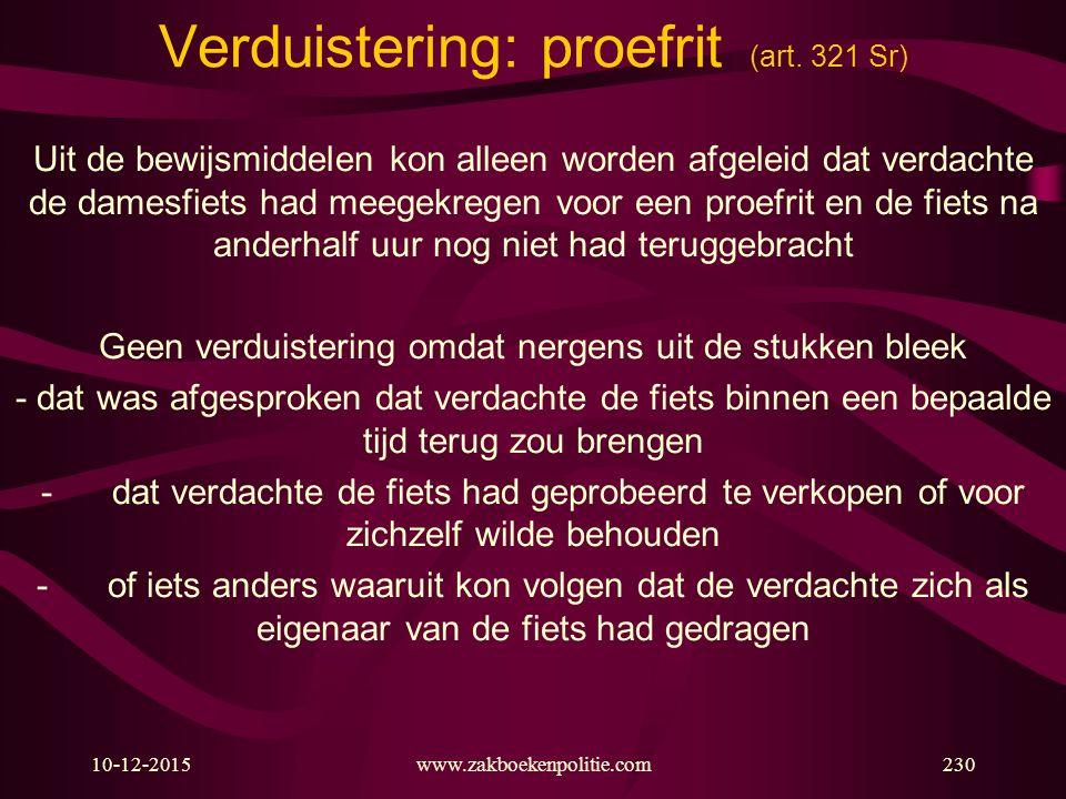 Verduistering: proefrit (art. 321 Sr)