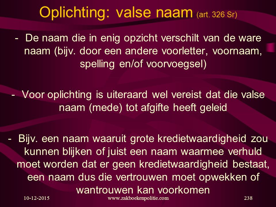 Oplichting: valse naam (art. 326 Sr)