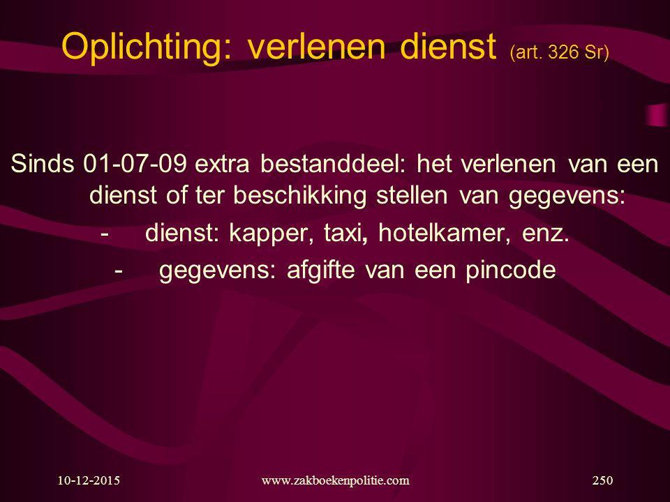 Oplichting: verlenen dienst (art. 326 Sr)