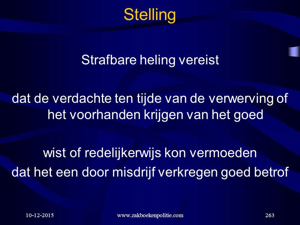 Stelling Strafbare heling vereist