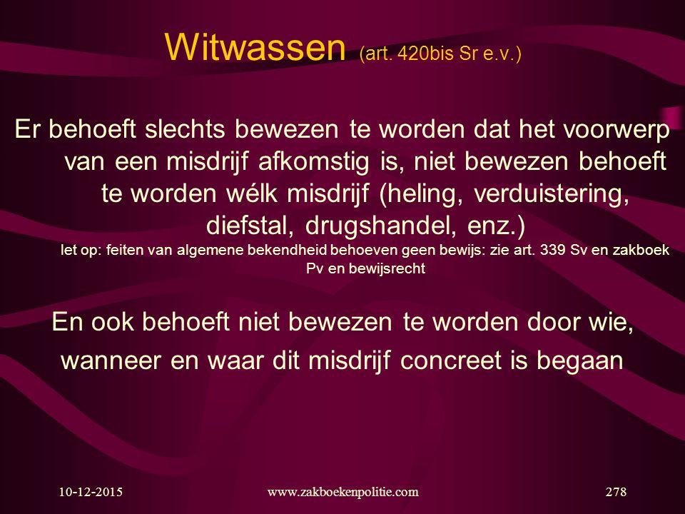Witwassen (art. 420bis Sr e.v.)
