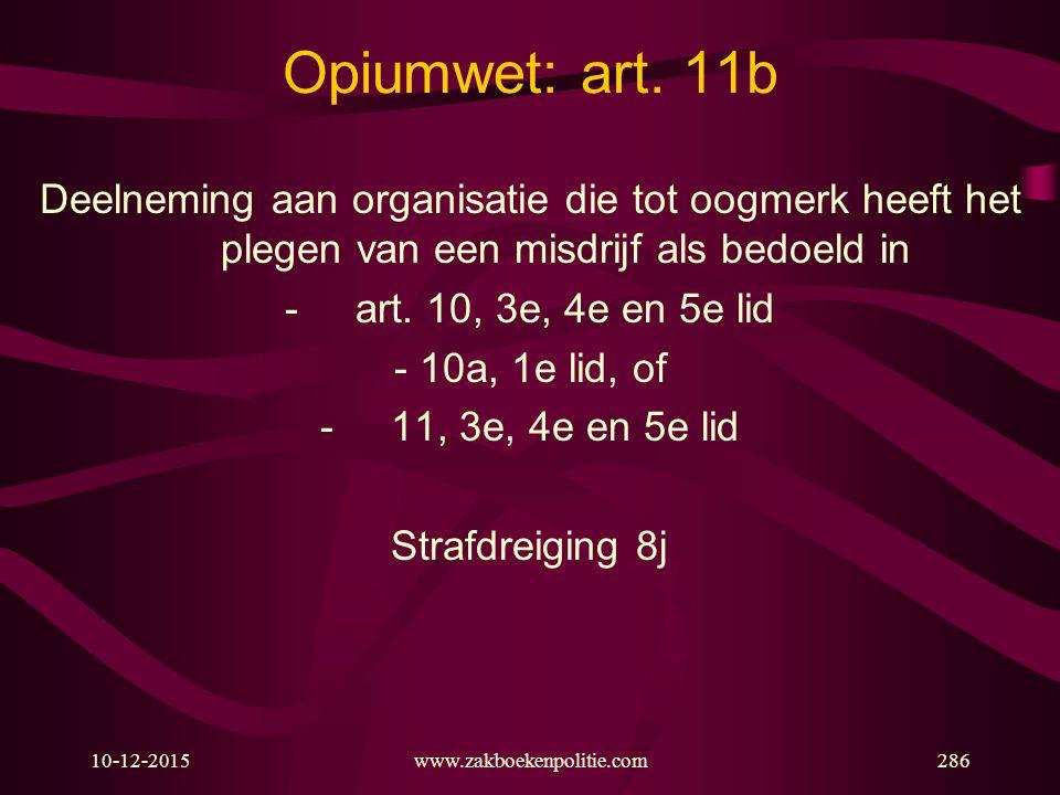 Opiumwet: art. 11b Deelneming aan organisatie die tot oogmerk heeft het plegen van een misdrijf als bedoeld in.