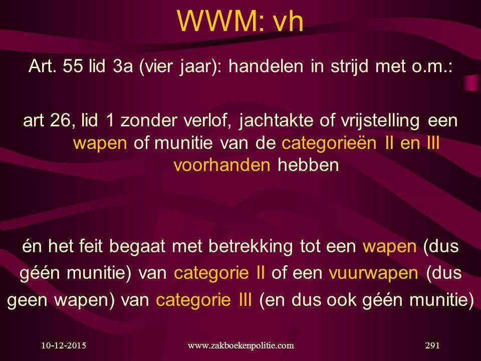 WWM: vh Art. 55 lid 3a (vier jaar): handelen in strijd met o.m.: