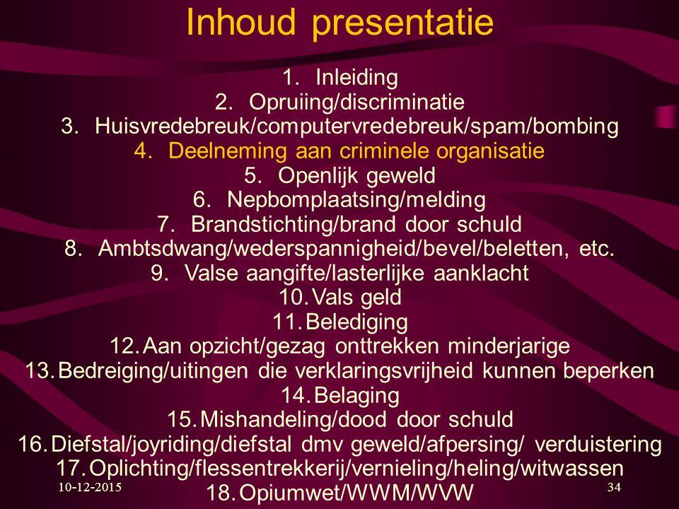 Inhoud presentatie Inleiding Opruiing/discriminatie
