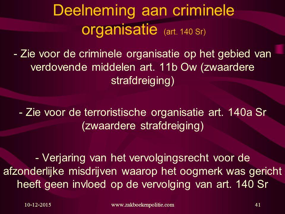 Deelneming aan criminele organisatie (art. 140 Sr)