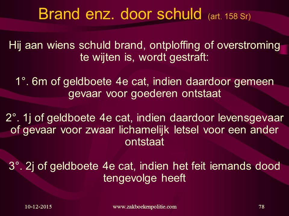 Brand enz. door schuld (art. 158 Sr)